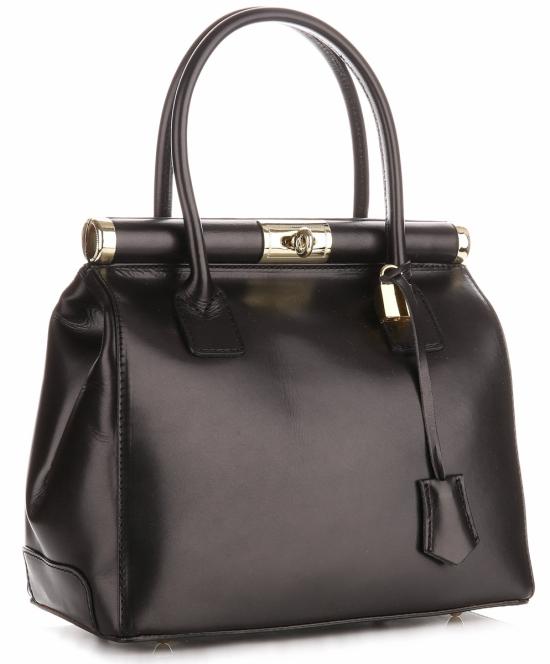 Torebki skórzane kuferki Genuine Leather Czarny