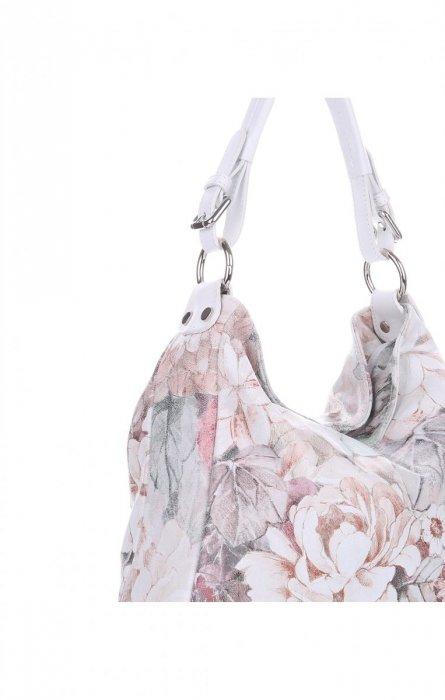 VITTORIA GOTTI Made in Italy Modna Torebka Skórzana w Kwiaty Multikolorowa Biała