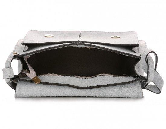 Torebki Listonoszki Skórzane Genuine Leather Błękitna