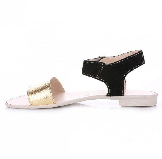 Skórzane Sandały Damskie Złote