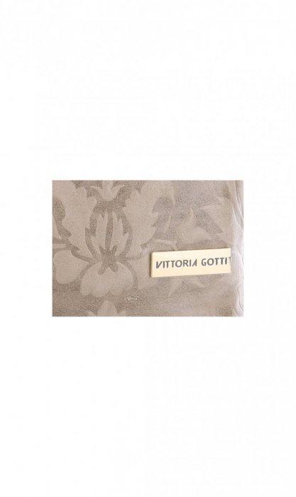 VITTORIA GOTTI Made in Italy Torebka Listonoszka Skórzana w Tłoczone Wzory Beżowa