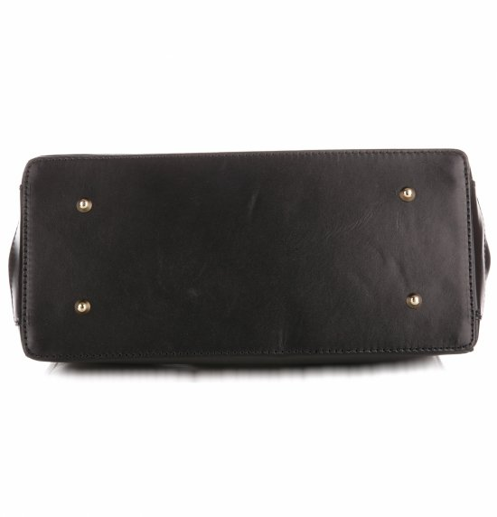 Duży Włoski Kufer ze Skóry Licowej Genuine Leather Czarny