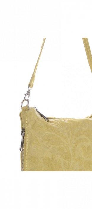 VITTORIA GOTTI Made in Italy Listonoszka Skórzana w Tłoczone Wzory Żółta