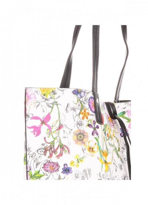 Dwustronna Torba Damska XL David Jones w Kwiaty z Kosmetyczką Czarna
