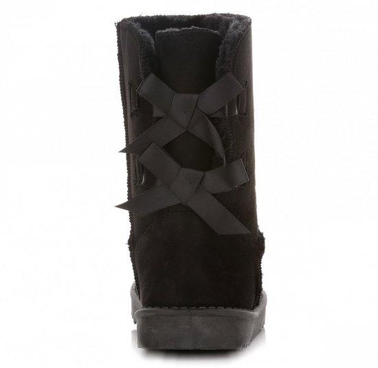 Włoskie Botki Damskie Śniegowce Czarne