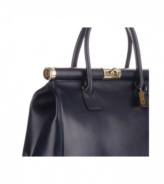 Duży Włoski Kufer ze Skóry Licowej Genuine Leather Granat