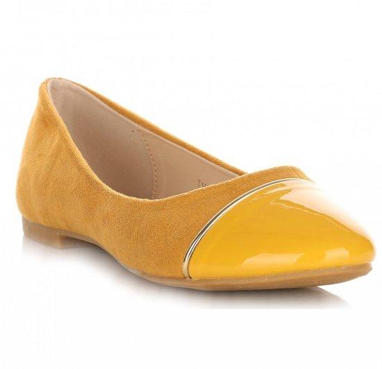 Eleganckie Balerinki Damskie Żółte