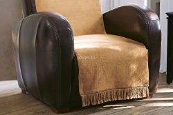Koc jednolity beżowy na fotel