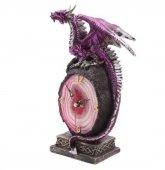 zegar dekoracyjny stojący - Fioletowy Smok na Skale