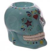 Meksykańska Czaszka niebieska - ceramiczny podgrzewacz do olejków