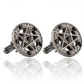 Pentagramy z czarnymi kryształkami - spinki do mankietów