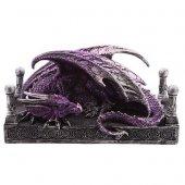 Fioletowy Smok przy kolumnach - figurka fantasy