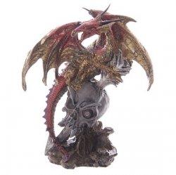 Czerwony Smok na Czaszce Potwora - figurka fantasy