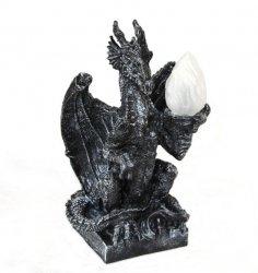 duża lampa Smok Czarny Siedzący gothic fantasy