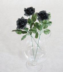 Czarna Róża -  długość 60 cm, kwiat sztuczny
