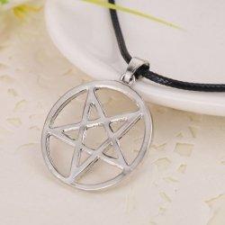 Pentagram Odwrócony - wisiorek na czarnej lince