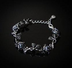 Czarne Róże - obsydian śnieżny, bransoletka