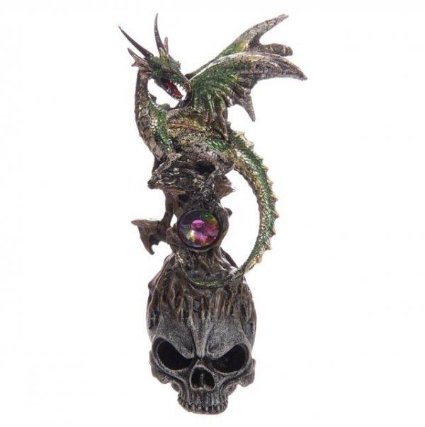 Zielony Smok na czaszce z kryształem - figurka