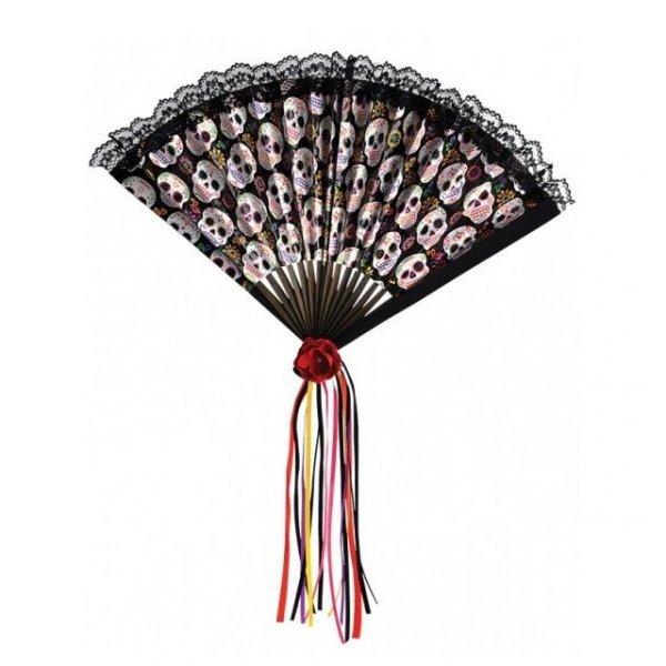 wachlarz w meksykańskie kolorowe czaszki calaveras czarny