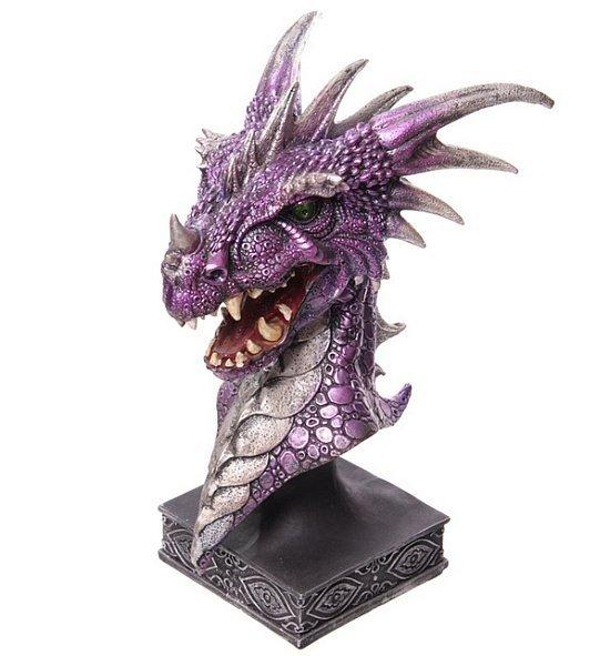 Głowa Fioletowego Smoka duża - figurka fantasy