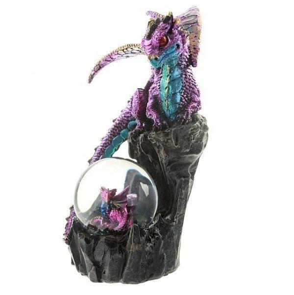 figurki fantasy - szklana kula wodna z brokatem - smok