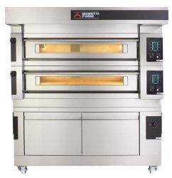 Wielokomorowy elektryczny piec do pizzy i piekarniczy S120E piec trzykomorowy z okapem i bazą