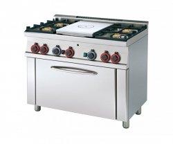 Kuchnia gazowa zpłytą żeliwną i piek. TPF4-610 G RM Gastro