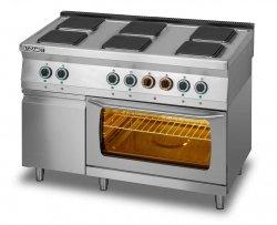Kuchnia elektryczna 6-płytowa z piekarnikiem elektrycznym GN2/1 i szafką L700.KE6 PE+SD Lozamet