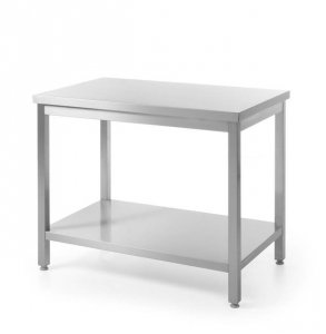 Stół roboczy centralny z półką - skręcany, o wym. 1600x600x850 mm