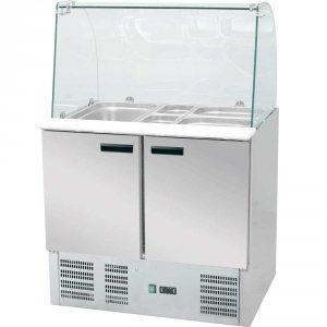 stół chłodniczy sałatkowy z nadstawą szklaną 240 l. +2/+8C 900x700x1300 ECO