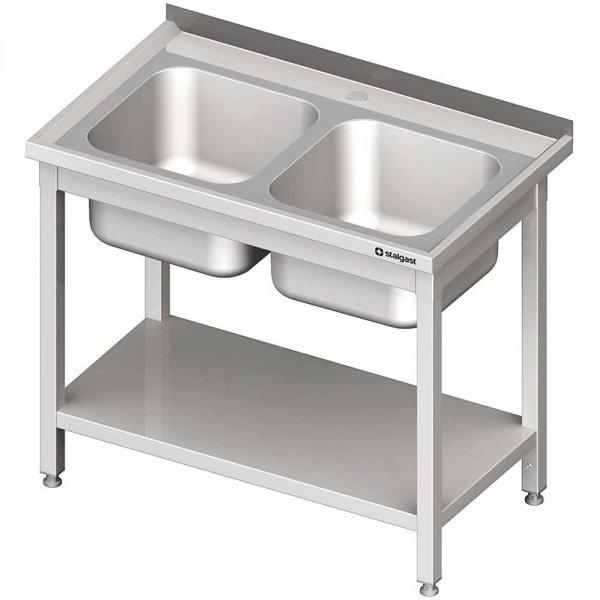 stół ze zlewem 2-kom.,z półką 1000x600x850 mm spawany
