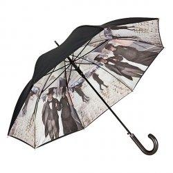 Paryż w deszczu - parasol z podwójną czaszą i skórzaną rączką