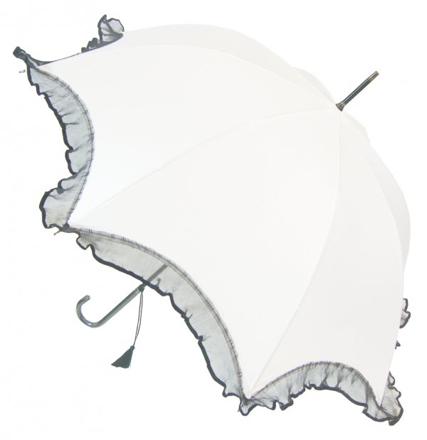 Isabella biała elegancka parasolka z falbaną