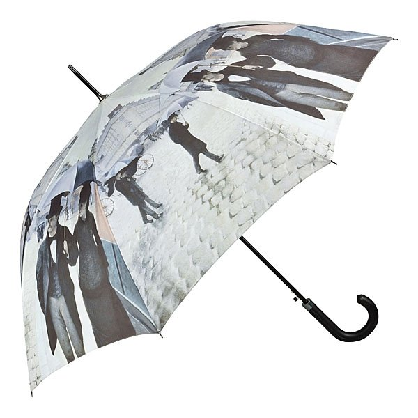 Paryż w deszczu - Parasol długi ze skórzaną rączką