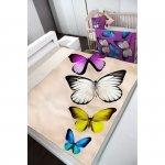Koc Butterfly 130x160cm motyle kremowy