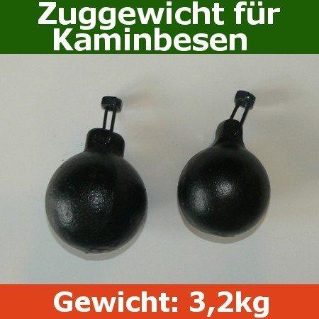 Schornsteinbesen Kaminbesen Federstahl SET Schubstange Zuggewicht 3,2kg
