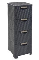 Regał z szufladami RATTAN STYLE 4x14L szary