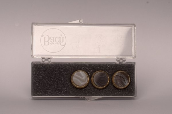 """Nakrętki z kamieniami szlachetnymi do wentyli tłokowych do trąbki Vincent Bach Valve Buttons """"Brazil Agate"""" pozłacane"""