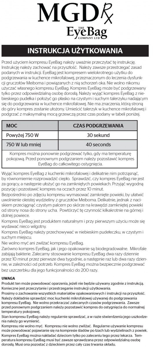 termiczny kompres Eye Bag- MGD Rx do leczenia dysfunkcji gruczołów Meiboma i zespołu suchego oka MGDRx