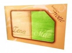 Komplet ręczników Żona i Mąż kolor krem-zieleń