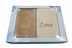 Komplet ręczników Mąż i Żona kolor beż / kremowy