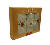 Trzyczęściowy komplet ręczników Banan w pudełku - 590-Stal
