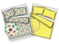 Pościel młodzieżowa dwustronna 100% bawełniana 160x200 wzór Kociaki-żółte kropki