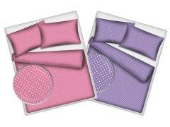 Pościel młodzieżowa dwustronna 100% bawełniana 140x200 wzór kropki Pink - kropki Blue