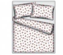 Pościel WALENTYNKOWA kora 160x200, 100% bawełna wz. Walentynka biała zapinana na zamek