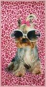 Ręcznik plażowy Pies w okularach - rozmiar 70x148