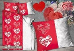 Pościel bawełniana WALENTYNKOWA GRENO 220x200, 200x200 lub 180x200 wz. Love Me czerwona