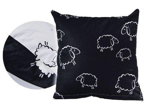 Poszewka na poduszkę BARANKI 40x40 - 100% bawełna, wz. czarno-białe