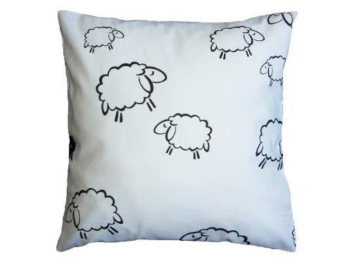 Poszewka na poduszkę BARANKI 40x40 - 100% bawełna z kory, wz. białe