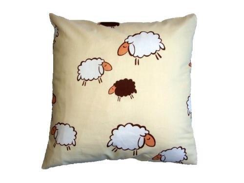 Poszewka na poduszkę BARANKI 50x60 - 100% bawełna, wz. kremowe